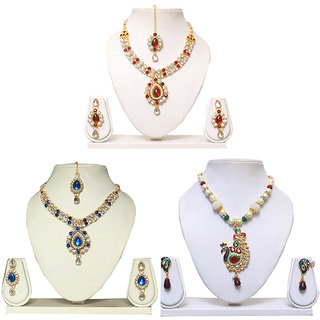Aavkar Kundan Necklaces set combo-set of 3