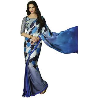 Swaron Blue Satin Printed Saree With Blouse