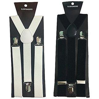 Y- Back Suspenders for Men(White Black Color)