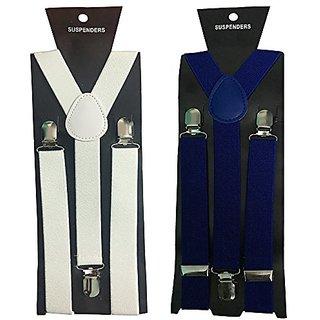 Y- Back Suspenders for Men(White Royal Blue Color)