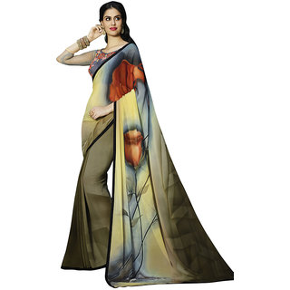 Swaron Red,Yellow Printed Satin Party Wear Saree 232S8212