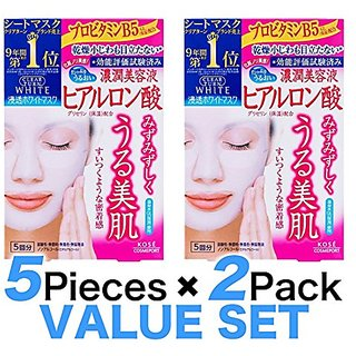 KOSE Clear Turn White Hyaluronic Acid Paper Facial Mask---5 Piece(set of 2)