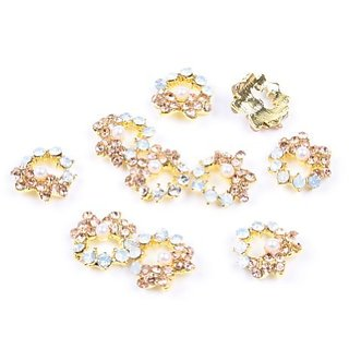 So Beauty 10 Pieces 3D Rhinestone Flower with Artificial Pearl Nail Art Slices Glitters DIY Decorations