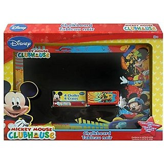 Disney Mickie Clubhouse Bundle: 3 Item Set- Mickey Mouse Clubhouse Chalkboard Set & 2 Double Sided Portable Wallet Tissu