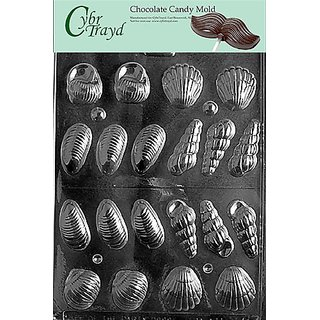 Cybrtrayd N017 3D Shells Chocolate Candy Mold with Exclusive Cybrtrayd Copyrighted Chocolate Molding Instructions