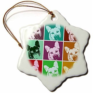 3Drose Llc German Shepherd Pop Art 3 3-Inch Snowflake Porcelain Ornament