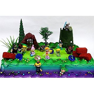 Legend of Zelda Birthday Cake Topper Set Featuring Link, Zelda, Phantom, Bryne, Anjean, Chancellor Cole, Big Blin, Alfon