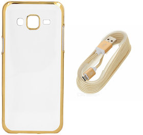 DKM Inc Soft Golden Chrome TPU Cover and Golden USB V8 Data Cable for Oppo F1