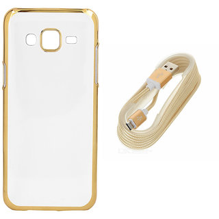 DKM Inc Soft Golden Chrome TPU Cover and Golden USB V8 Data Cable for Oppo F1s