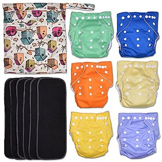 Garden Party 13-Piece Baby Gift Set - Pack of 6 Cloth Diapers, 6 Bamboo Charcoal Inserts and WetDry Bag, Baby Gift All i