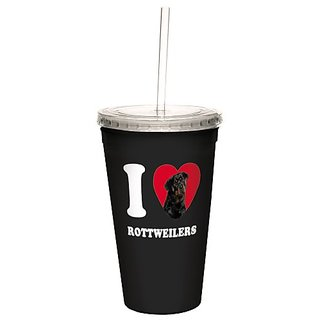Tree-Free Greetings CC35110 I Heart Rottweilers Artful Traveler Double-Walled Cool Cup with Reusable Straw, 16-Ounce
