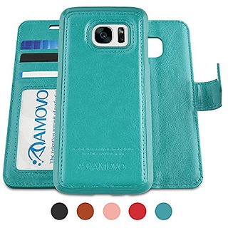 Amovo Galaxy S7 Edge Case [Detachable Wallet Folio] [2 in 1] [Premium Vegan Leather] S7 Edge Wallet Case with Leather St