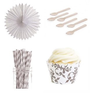 Dress My Cupcake DMC432884 Dessert Table Party Kit with Pinwheel Fans and Standard Wrappers, Grey Filigree