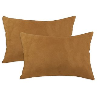 Brite Ideas Living Passion Suede Rust Simply Soft 12-1/2 by 19-Inch KE Synthetic Down Like Fiber Pillow, Set of 2