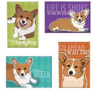 Pop Doggie Pembroke Welsh Corgi Refrigerator Magnets with Funny Sayings (Set of 4)