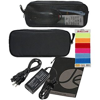 JAVOedge Black Zippered Mesh Travel Pouch and Velcro Cable Ties for Electronic Accessories + Bonus Drawstring Bag