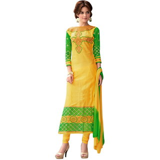 Surat Tex YellowGreen Colored Sattin cotton  Chanderi Embroidered Party Wear Un-Stitched Salwar Suit-K155DL1404