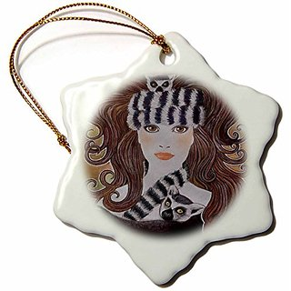 3Drose Llc Stylized Art Lemurs Wild Animal Madagascar Woman Hat Whimsical Pastel Painting 3-Inch Snowflake Porcelain Orn