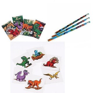 Dinosaur Theme Party Favor Set 12 Dino Pencils 12 Mini Notebooks 144 Temporary Tattoos