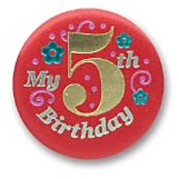 "My 5Th Birthday Satin Button (Red) 2"" Party Accessory"