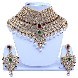 Maroon Green Bridal Dulhan Necklace set With Mang Tikka