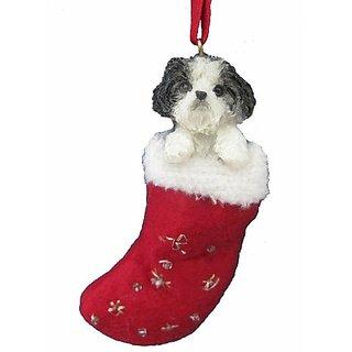 Shih Tzu Christmas Stocking Ornament With