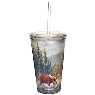 Tree-Free Greetings 98062 Jack Terry River Moose Double-Walled Cool Cup with Reusable Straw, 16-Ounce