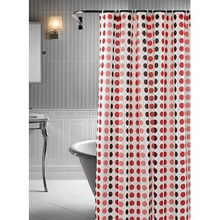 Polka Geometric 14 Piece Shower Curtain Liner And Ring Set White Brown Red Pink