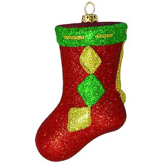 Barcana Shatterproof All Glitter Christmas Stocking Ornament - Red - 6-Inch