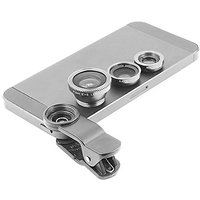 Gray Universal Clip-on 180 degree 3 in 1 Fisheye+Wide Angle+Macro Camera Lens Kit for iPhone 5 5S 4 4S 6 Samsung Galaxy