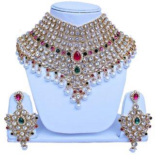 Magenta Green Bridal Dulhan Necklace set With Mang Tikka