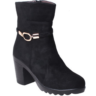 MSC-ANKLE LENGTH-SUEDE-BLACK BOOTS (MSC-RR66-5570-SUEDE-BLACK BOOTS)
