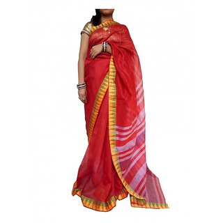 EthnicAlive Red Linen Striped Saree Without Blouse