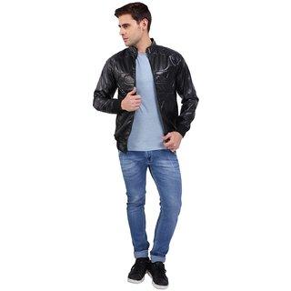 Nu Abc Garments Black Pu Leather Jacket For Mens