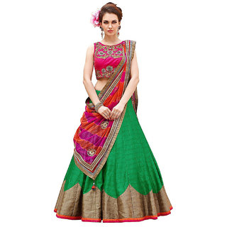 Surat Tex Green  Pink Color Party Wear Semi-Stitched Embroidered Banglori Silk Lehenga Choli With Heavy Designer Banglo