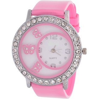 Glory Pink Diamond Fancy Letest Butterfly Print Collection Analog Watch - For Women BY JAPAN STORE