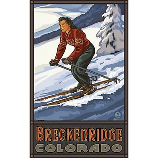 Northwest Art Mall Breckenridge Colorado Downhill Skier Girl Artwork by Paul A Lanquist, 11-Inch by 17-Inch