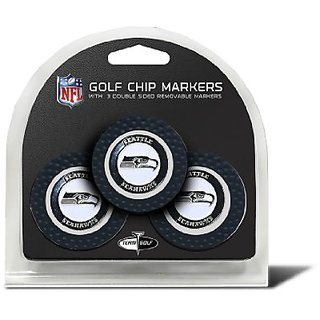 Set of 3 Seattle Seahawks Poker Chips with removable Golf Ball Markers