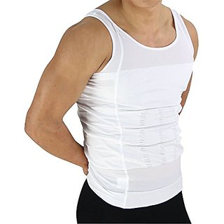 Beautyko Tummy Tuck Invisible Slimming Body Shaper T-Shirt with Firming and Tightening Panels, White, 1 Count