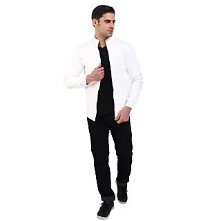 Nu Abc Garments White PU Leather Jacket For Mens