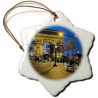 3dRose orn_81424_1 Arch of Triumph Paris France David Barnes Snowflake Decorative Hanging Ornament, Porcelain, 3-Inch