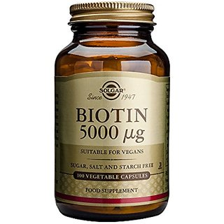 Solgar Biotin Vegetable Capsules, 5000 mcg, 100 Count