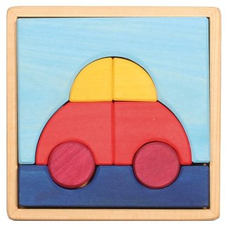 Grimms Wooden Beginner Preschool Puzzle, Car (includes 8 Block Pieces for Stacking)