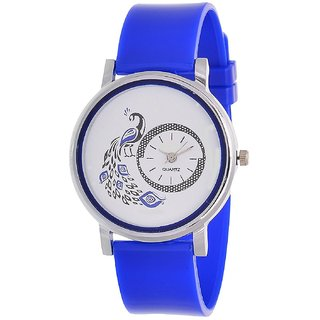 Glory Blue New style Peacock Dial Fancy Collection PU Analog Watch - For Women by 7Star