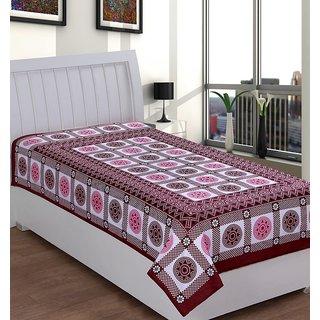 BajajDecor Marroon Abstract Cotton Single Bed Sheet (Diwan33)