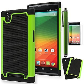 ZTE Zmax Case, Bastex Heavy Duty Hybrid Soft Black Silicone Cover Hard Neon Green and Black Shock Armor Design Case for