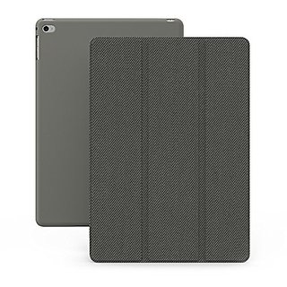 KHOMO iPad Mini 4 Case (Released September 2015) - DUAL Grey Super Slim Twill Cover with Rubberized back and Smart Featu