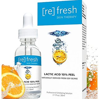 Lactic Acid Chemical Gel Peel Serum 10% - Anti-Aging Facial Exfoliant Naturally Derived From Soy (Professional Chemical