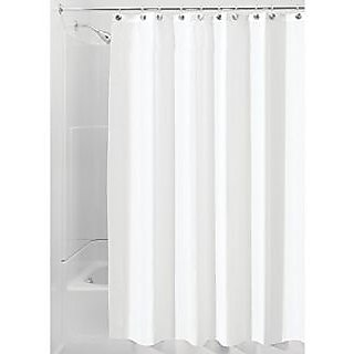 InterDesign Mildew Free Water Repellent Fabric Shower Curtain And 18 Hooks Set X Wide 108 Inch By 72 Whit