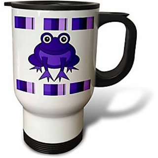 3dRose tm_24658_1 Cute Happy Purple Frog with Stripes Travel Mug, 14-Ounce, Stainless Steel